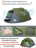 ayamaya Pop Up Tents with Vestibule for 4 to 6 Person - Double Layer Waterproof 3 Season Easy Setup Big Family Camping Tent - Ventilated Mesh Windows Quick Ez Set Up Dome Popup Tents (Green)