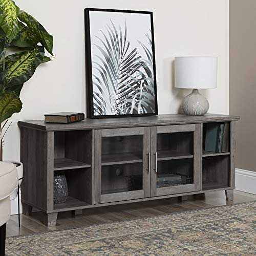 Walker Edison Furniture Company Farmhouse Glass and Wood Stand with Cabinet Doors for TV's up to 65