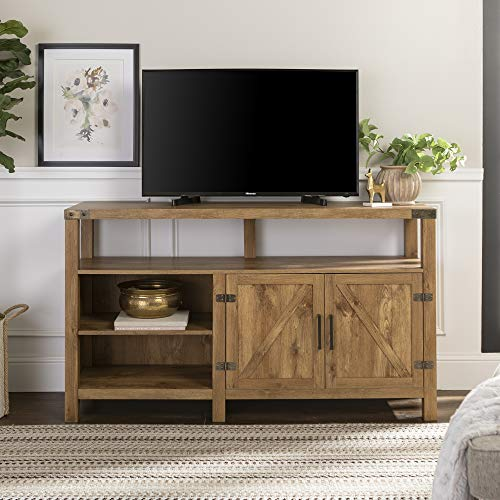 "Walker Edison Furniture Company Farmhouse Barn Wood Tall Universal Stand for TV's up to 64"" Flat Screen Living Room Storage Cabinet Doors and Shelves Entertainment Center, 58 Inch, Barnwood Brown"