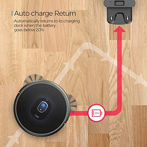 Robot Vacuum, dser 23T 2200Pa Robotic Vacuum Cleaner, Wi-Fi Connected, 2 Boundary Strips, Self-Charging, Multiple Cleaning Modes Vacuum for Hard Floor Carpets and Pet Hair, Work with Alexa