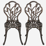 YAHEETECH 3 Piece Bronze Patio Set Outdoor Patio Furniture Tulip Design Setting Cast Bistro Table Chair, Aluminum
