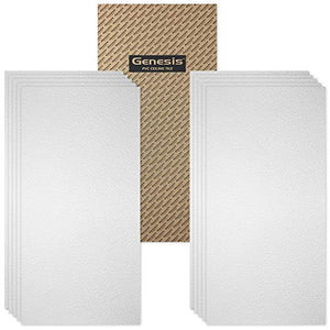 Genesis Stucco Pro PVC Ceiling Tile, Waterproof & Washable, 2'L X 4'W, White, 10/Pack