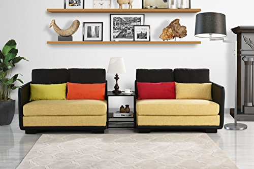 Divano Roma Furniture Classic 2 Piece Colorful Convertible Living Room Sofa, Adjustable Couch (Black/Yellow)