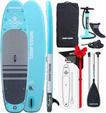 Driftsun Cruiser Inflatable Standup Paddleboard - 10ft ISUP Package with Travel Strap, Adjustable Paddle, Coil Leash, 10 Feet Long x 32 Inches Wide (Teal)
