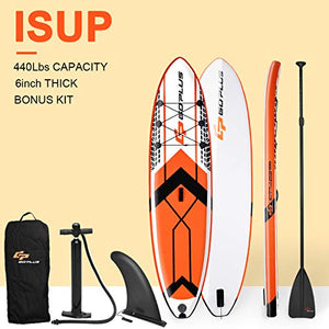 Goplus 10.5' Inflatable Stand Up Paddle Board SUP Cruiser with Fin, Adjustable Paddle, Hand Pump and Carry Backpack (Orange)