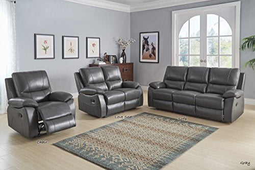 Homelegance Greeley Manual Reclining Chair, Gray Genuine Leather