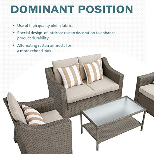 SUNCROWN 4 Piece Outdoor Patio Furniture Conversation Set Rattan Wicker Chairs with Glass Top Table All-Weather and Thick Cushion Covers(Grey)