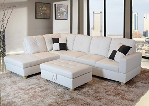 Beverly Fine Furniture Left Facing Russes Sectional Sofa Set With Ottoman, White