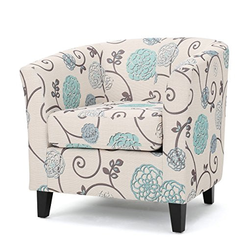 Palisades Barrel Fabric Club Chair White and Blue Floral Pattern