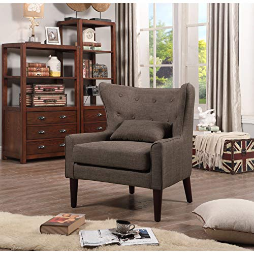 Rosevera Liviana Tufted Wingback Club Chair with Back Cushion, Beige