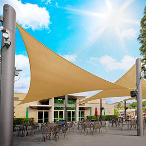 Royal Shade Custom Size Order to Make Sun Shade Sail Canopy Mesh UV Block Triangle RTAPT12 - Commercial Standard Heavy Duty - 200 GSM - 5 Years Warranty (25' x 25' x 25', Sand Beige)