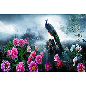 JW-MZPT Wooden Puzzle, Cartoon Landscape Decompression Educational Toy Entrance Decoration Painting, Lonely Peacock,6000pieces
