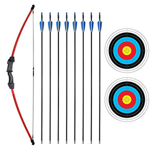 "SinoArt 45"" Recurve Bow and Arrow Set for Kids Archery with 8 Arrows Target Paper (Red)"