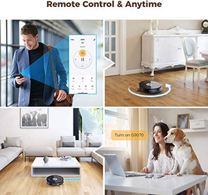 Wi-Fi Robot Vacuums, Muzili Robotic Vacuum Cleaner and Mop, 2-in-1 Robot, 120min Runtime with 1500pa Suction, Quiet 55dB Noise, 2 Boundary Strips, Auto Self-Charging for Pet Hair, Hard Floors, Carpet