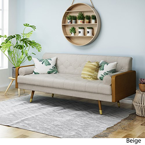 Christopher Knight Home Aidan Mid Century Modern Tufted Fabric Sofa, Beige