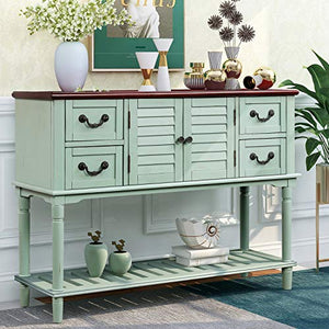 P PURLOVE Console Table for Entryway Buffet Table Sideboard Sofa Table with Shutter Doors and 4 Storage Drawers for Living Room Kitchen (Antique Blue)