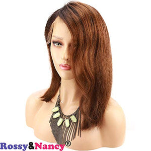 Rossy&Nancy Glueless Short Bob Lace Front Wig Brazilian Virgin Human Hair Wig Ombre 1b/30 Black Roots Ombre Brown Hair with Baby Hair for Black Women (10inch, Full Lace Cap)
