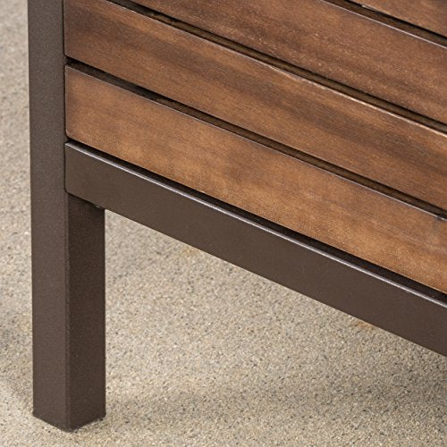 Christopher Knight Home Milos Acacia Bar Table, Dark Brown / Rustic Metal