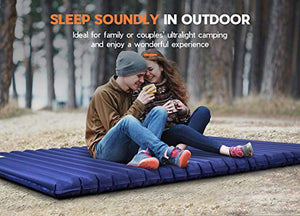 Hikenture Double Camping Pad with Pump Bag Inflatable Air Mattress - Light and Compact - for Backpacking, Self-Driving Tour, Hiking, Tent(Navy Pumpsack)