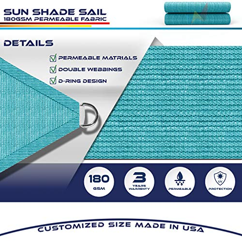 Windscreen4less Sun Shade Sail for Outdoor Patio Backyard UV Block Awning with Steel D-Rings 19ft x 24ft Turquoise Light Green Rectangle Included Free Pad Eyes - Custom Size