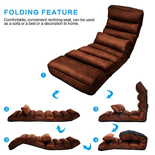 E-More Home Adjustable Folding Lazy Floor Sofa Chair Stylish Couch Beds Lounge Chair with Pillow, Coffee