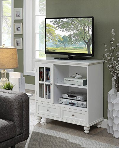 Convenience Concepts Tahoe Highboy TV Stand, White