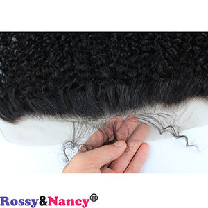 "Rossy&Nancy 13x4"" Lace Frontal Closure Ear to Ear Kinky Curly Frontal Lace Closure Free Part 100% Unprocessed Brazilian Virgin Remy Human Hair Bleacked Knots Closure with Baby Hair"