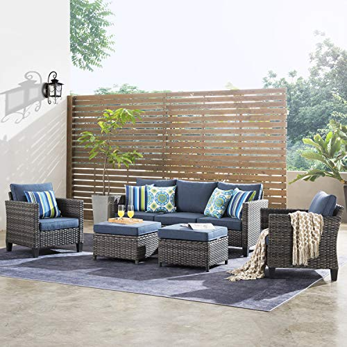 ovios Patio furnitue, Outdoor Furniture Sets,Morden Wicker Patio Furniture sectional with Table and Pillow,Backyard,Pool (Grey-Denim Blue)