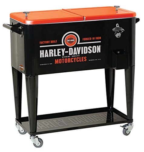 HARLEY-DAVIDSON Forged in Iron Sturdy Rolling Cooler, Black & Orange HDL-10071