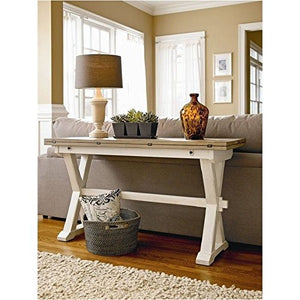 BOWERY HILL Expandable Drop Leaf Sofa Console Table in Terrace Gray and Washed Linen