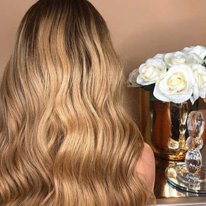FUNTRESS 4/27 Blonde Ombre Human Hair Lace Front Wigs Loose Wave 130 Density Dark Roots Brazilian Virgin Hair Lace Wigs Middle Part Black Women African American (20 Inch)