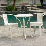 Christopher Knight Home Colmar Outdoor Metal Bistro Set, 3-Pcs Set, Shabby White