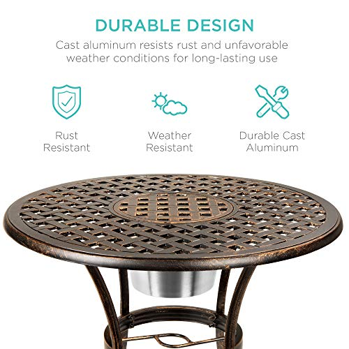 Best Choice Products Cast Aluminum Outdoor Patio Bistro Table Set w/Attached Ice Bucket, 2 Chairs, Copper Finish