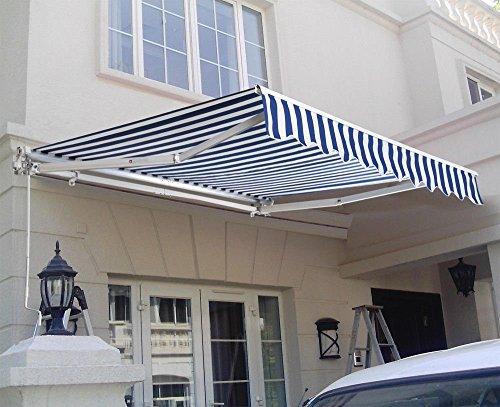 WALLER PAA 8.2'X6.5' Manual Patio Canopy Retractable Deck Awning Sunshade Shelter Outdoor