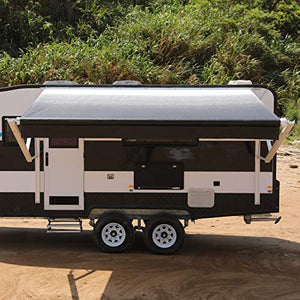 ALEKO Manual Retractable RV Trailer Awning for Home or Camper- 12x8 Ft - Black Fade
