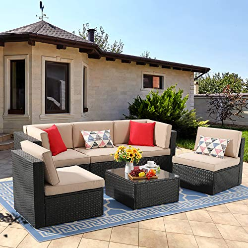 Vongrasig 6 Piece Small Patio Furniture Sets, Outdoor Sectional Sofa All Weather PE Wicker Patio Sofa Couch Garden Backyard Conversation Set with Glass Table,Beige Cushions and Red Pillows (Brown)