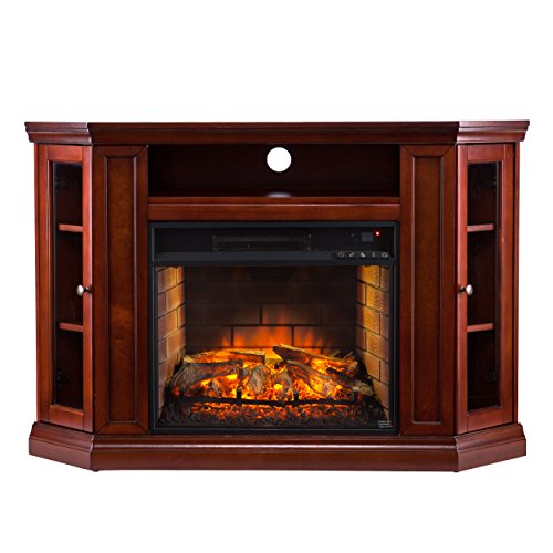 Southern Enterprises Corner Media Infrared Fireplace, Brown Mahogany Finish