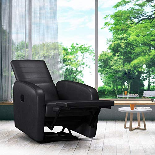 Giantex Manual Recliner Chair Foldable-Back Leather Modern Reclining Chair Sofa Seating W/Durable Framework Living Room Office Sofa Chair Recliner (Black)