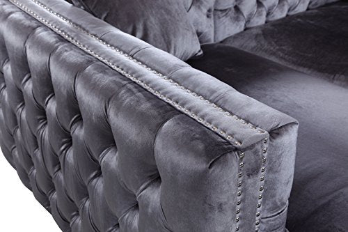 Iconic Home Da Vinci Tufted Silver Trim Grey Velvet Left Facing Sectional Sofa with Silver Tone Metal Y-Legs