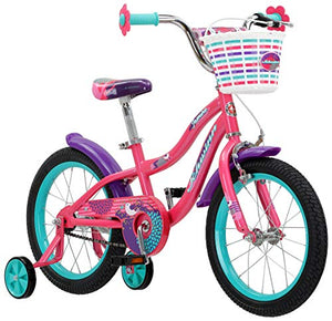 Schwinn Jasmine Girls Bike with Training Wheels, 16-Inch Wheels, Pink