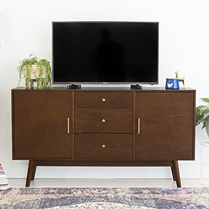 Home Accent Furnishings New 60 Inch Wide Mid-Century Modern Television Stand in Walnut Finish