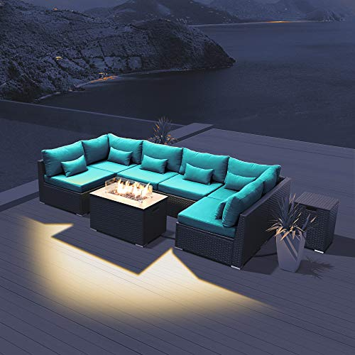 DINELI Patio Furniture Sectional Sofa with Gas Fire Pit Table Outdoor Patio Furniture Sets Propane Fire Pit (Turquoise-Rectangular Table)