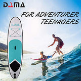 DAMA Youth Board (10') Inflatable Sup Board, All Round Board, Kids Board, Kayaka Board, Light Bag, Floating Paddle, Fin, Dual Hand Pump Quick Inflate, Safe Leash, Youth & Beginner