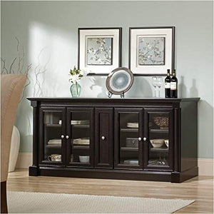 "Pemberly Row Entertainment Credenza with Cord Management, for TV's up to 70"", 2 Door Options Included (Glass or Wood), Wind Oak Finish"