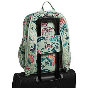 Vera Bradley Women's Signature Cotton Campus Backpack, Mint Flowers, One Size