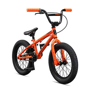 Mongoose Legion L16 Freestyle Sidewalk BMX Bike for Kids, Children and Beginner-Level to Advanced Riders, 16-inch Wheels, Hi-Ten Steel Frame, Micro Drive 25x9T BMX Gearing, Orange