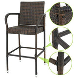 ZENY Set of 4 Wicker Barstool All Weather Dining Chairs Outdoor Patio Furniture Wicker Chairs Bar Stool with Armrest
