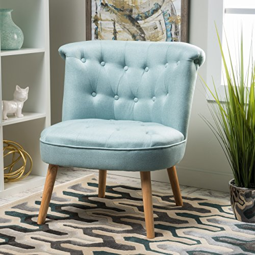 Christopher Knight Home Cicely Fabric Tufted Chair, Light Blue