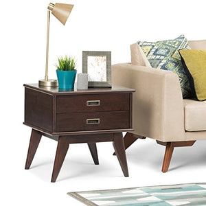 Simpli Home Draper Solid Hardwood 22 inch wide Rectangle Mid Century Modern End Side Table in Medium Auburn Brown with Storage, 2 Drawers, for the Living Room and Bedroom