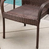 Christopher Knight Home Littletone 5 Piece Outdoor Wicker Dining Set | Perfect for Patio | in Multibrown